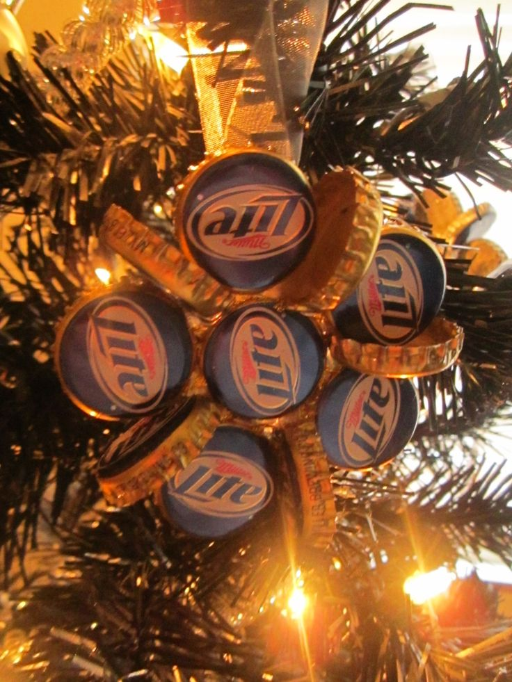 Beer bottle cap ornaments for the guys tree