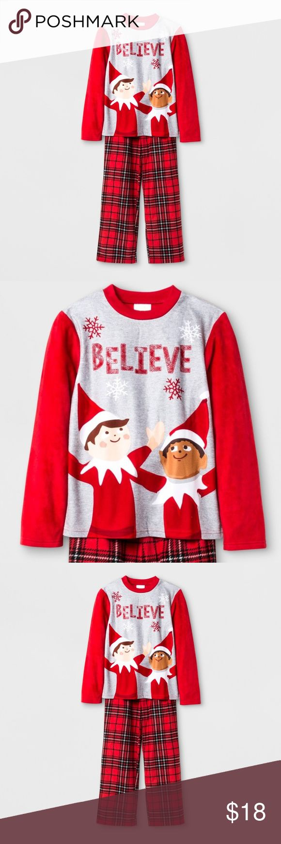 New ELF ON THE SHELF Fleece Pajama Set NWT Make sure the Elf can keep an eye on your boy throughout the night with the Elf on the Shelf Pajama Set. This adorable holiday pajama set features classic plaid pajama bottoms and long-sleeve top with not one, but two elves to report back to Santa. Great to give as a gift, this winter pajama set even comes with a coordinating gift bag to keep it all together.  size L new with tags color: red  @cjrose25  Be ready for the holiday season. Bundle your…