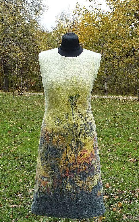 Купить Платье Осенний блюз- войлок - валяная одежда, одежда из войлока, одежда из шерсти
