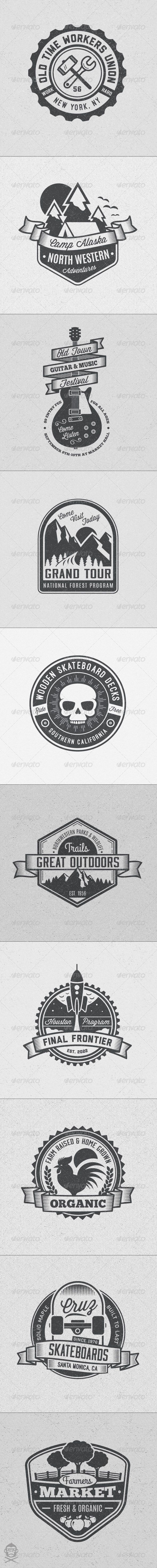 Vintage Style Badges and Logos Vol 4 - Badges & Stickers Web Elements. Logo Illustration Designs,
