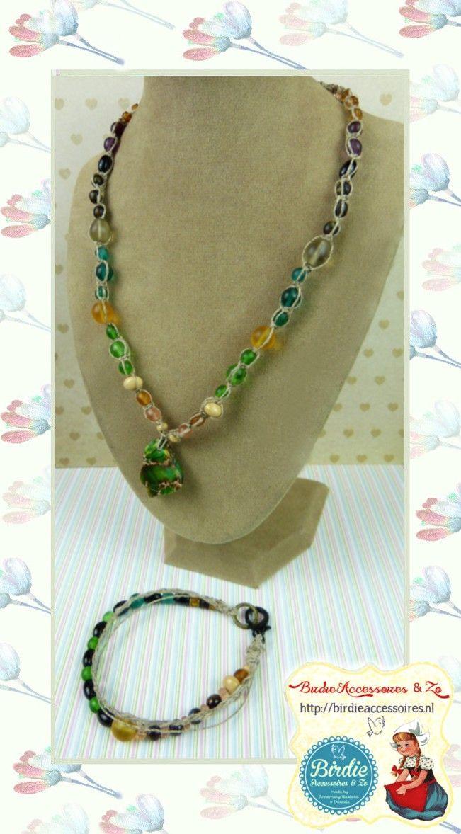 Heren & Unisex ketting en armband set, Earthy natural look, freeform zee sediment edelsteen, Tsjech glas, Iers linnen