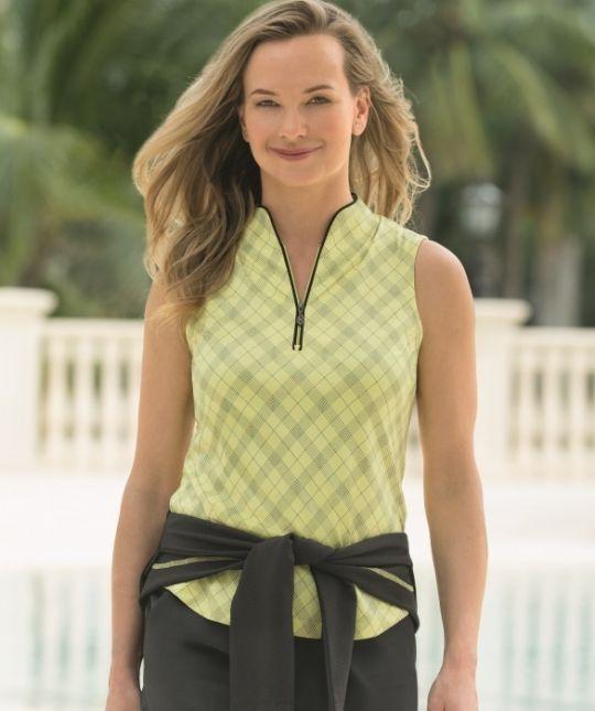 Calypso Lemon Drop Greg Norman Ladies Sleeveless Zip Plaid Print Golf Polo Shirt. Ladies outfits at #lorisgolfshoppe