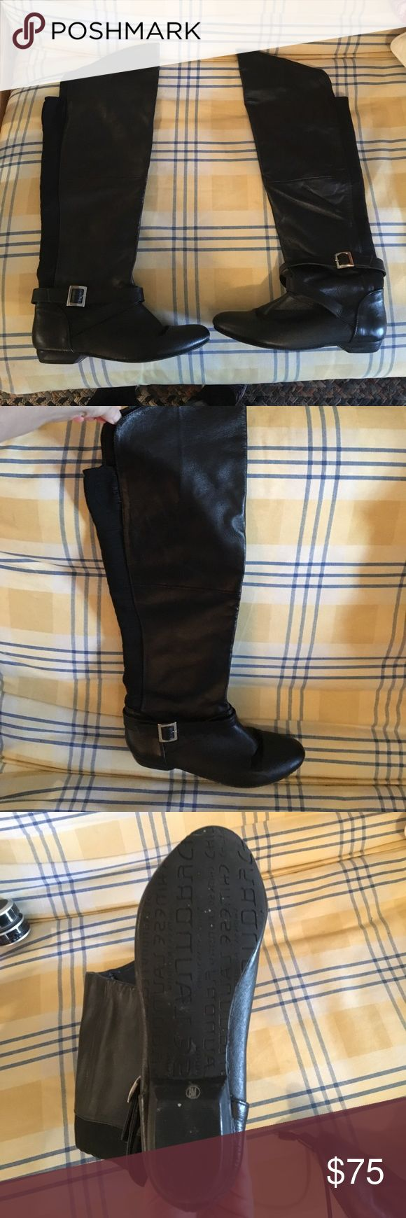 Black Over the knee Leather Chinese Laundry Boots Black leather over the knee boot. Stretch back. Worn a handful of times Chinese Laundry Shoes Over the Knee Boots