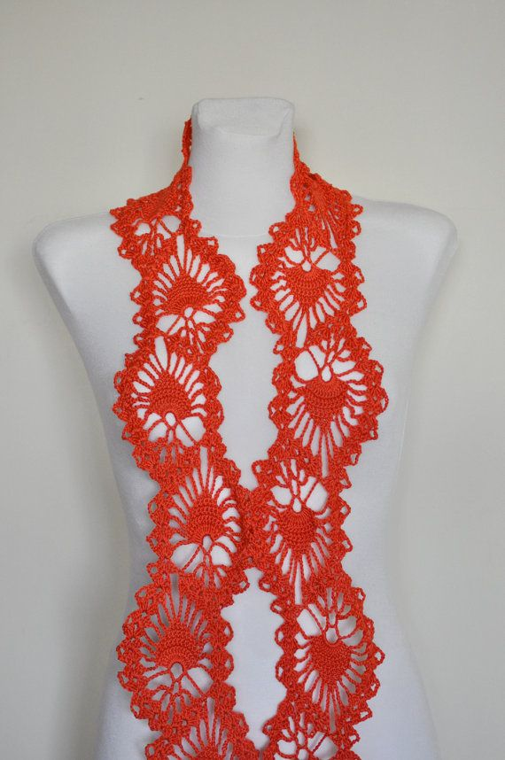 Crochet Scarf Crochet Lace Scarf Crochet Lace Orange