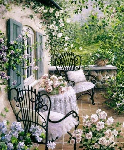 When walking outside from the bedroom you are on a peaceful patio with the only sounds of day are doves cooing and at dusk - crickets.