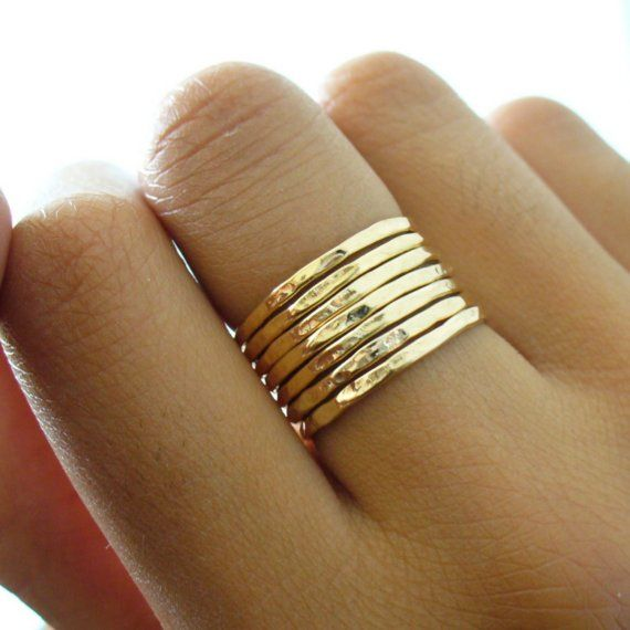 Hammered 7 Band Gold Stacking Ring Set by forkwhisperer on Etsy