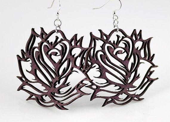Roses  Laser Cut Wood Earrings by GreenTreeJewelry on Etsy, $12.95