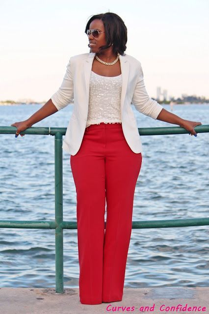 Curves and Confidence   Inspiring Curvy Fashionistas One Outfit At A Time: Red Flare Trousers