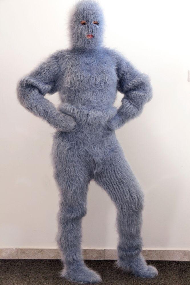 Angora Trui Kopen.Light Grey Fuzzy Mohair Extreme Catsuit Body Sweater Pants Socks Hat