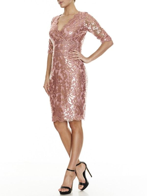Montique Lucia Sequin Lace Shift in Rose Gold - £169