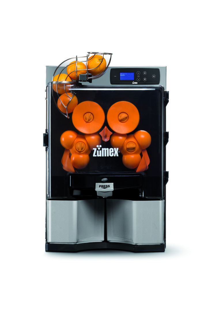 Silver Colour. You choose how to operate the machine, in Self-Service mode by pressing the spout, or in Autostart mode when you insert the fruit into the feeder.