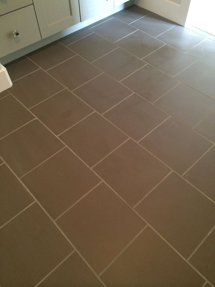 13x13 matte black tile in brick pattern with light gray grout finishes floors walls - White brick tiles black grout ...