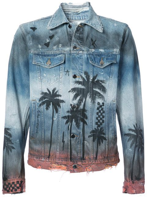 6564ab9e3b87 Shop Amiri palm tree print denim jacket.   MEN MEN MEN   Pinterest ...