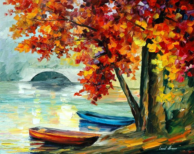 TWO BOATS — PALETTE KNIFE Oil Painting On Canvas By Leonid Afremov - born 1955, Belarus