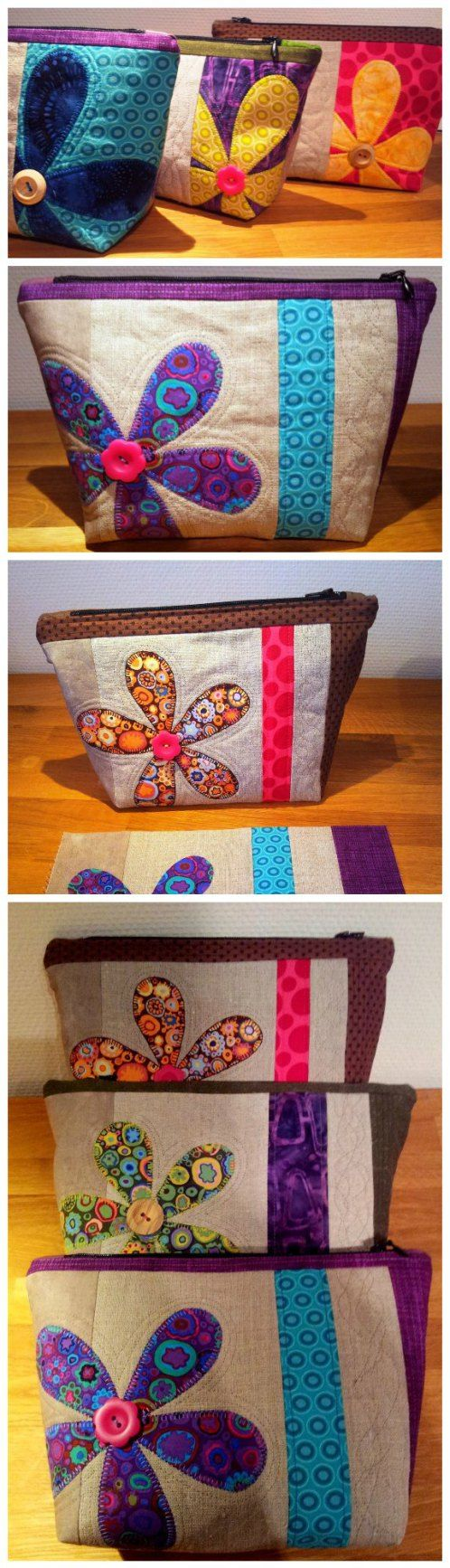 Free sewing pattern. With applique, quilting, flowers, bright fabrics, pieced panels, etc, these cute cosmetics bags are a great way to teach sewing or practice your skills too. Can't stop making them!