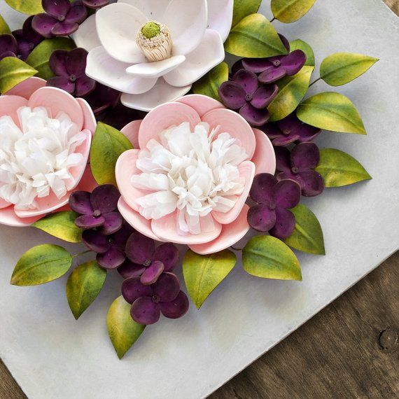 Pink Peony White Magnolia Purple Hydrangea Wall Art 1st Anniversary Gift For Her Girl Nursery Decor 3d Paper Art Botanical Decor Botanical Decor Hydrangea Wall Art Nursery Decor Girl