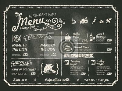 Cafe+Chalkboard+Menu | Inicio Vinilos Restaurant Food Menu Design with Chalkboard Background
