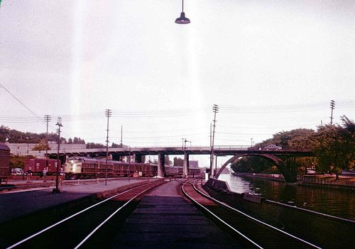 CN's Super Continental arriving as seen from under train shed at old Ottawa Ontario Union Station, June 18, 1956.