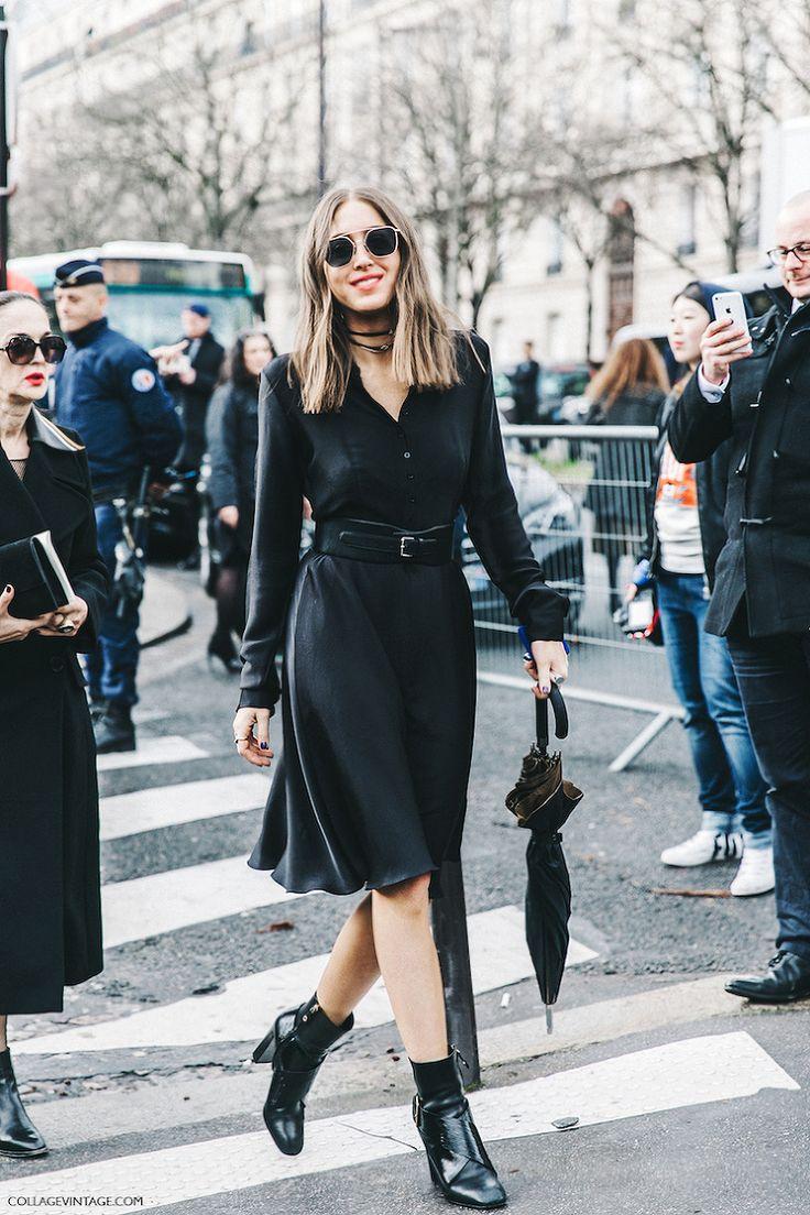 black dress and booties - paris fashion week - collage vintage