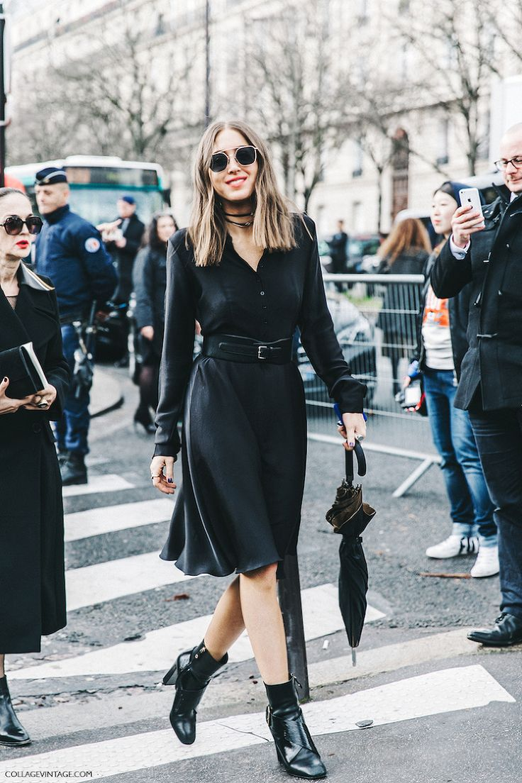 black dress and booties - paris fashion week - collage vintage