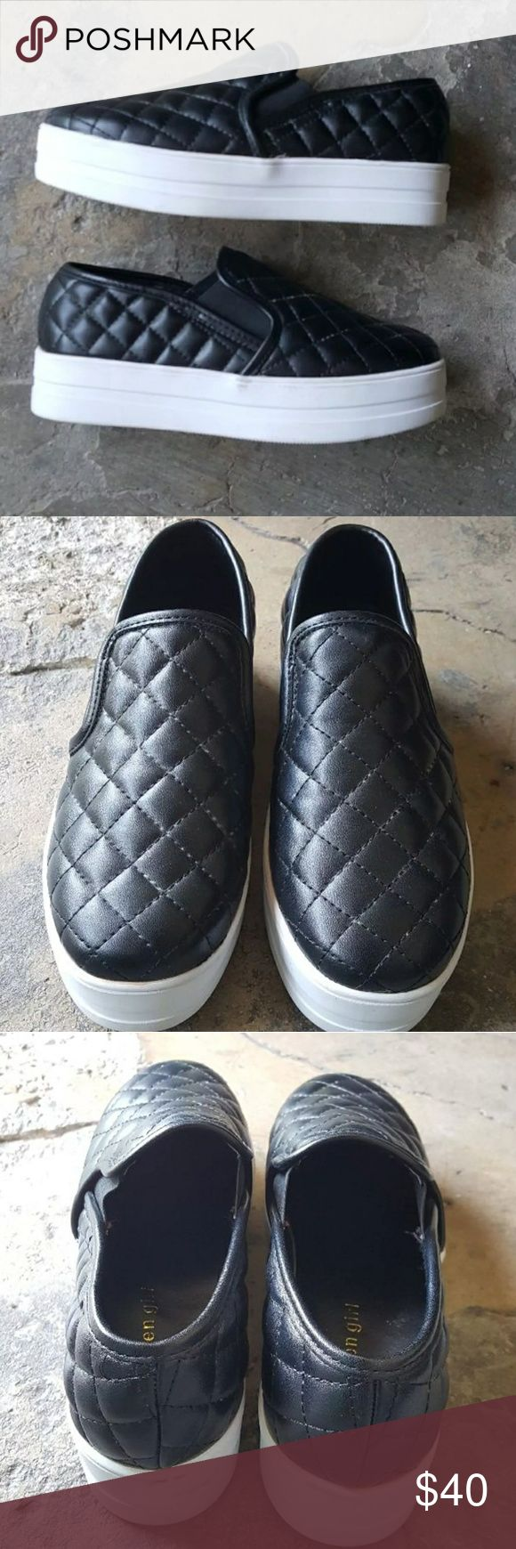 Madden girl platform sneakers Madden girl platform sneakers. Gently loved. A small flaw shown on the side of the shoe in pic 4. Size 6. #maddengirl #stevemadden #platforms #platformsneakers Madden Girl Shoes Platforms