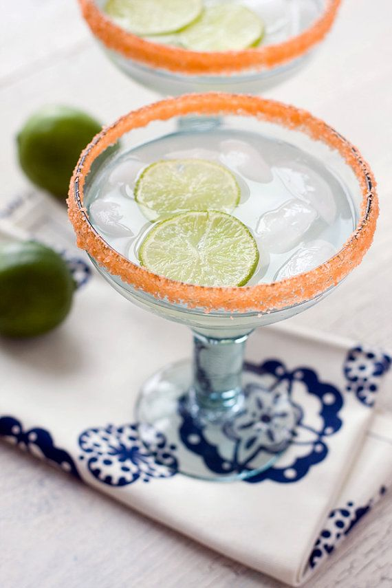 If you're serving a sweet margarita, try rimming your glass with a simple syrup first - THEN adding the margarita salt! (Photo by Selena Vallejo Photography - product by Dell Cove Spice Co.)