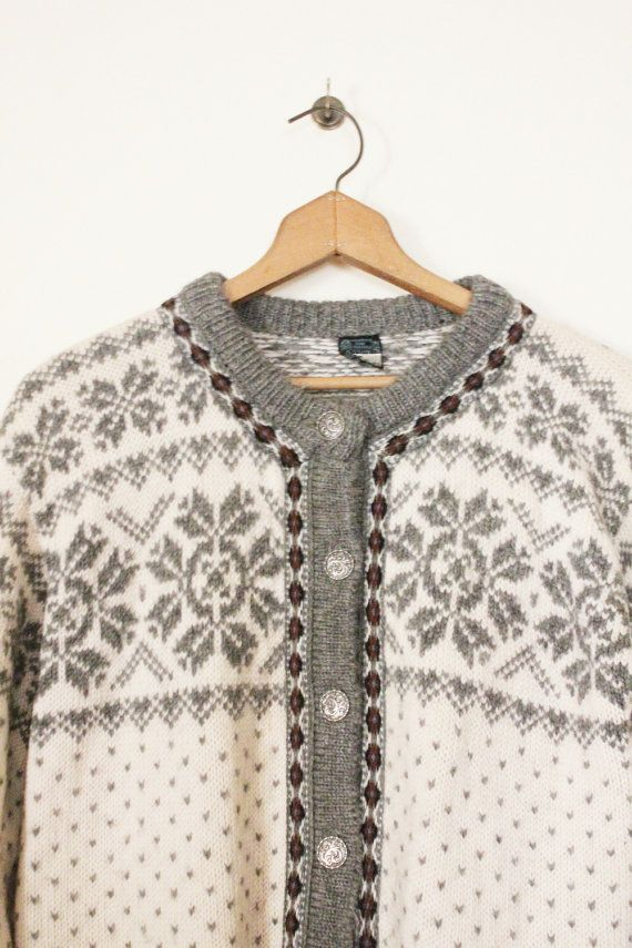 Vintage 70's Grey and Cream Nordic Sweater by by MrMisterVintage