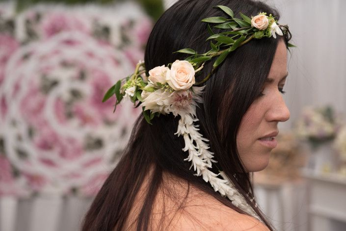 Whimsical Floral Crown with Trailing Hyacinth