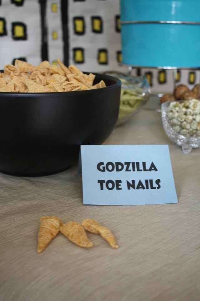 Bugles make great Godzilla toe nails!