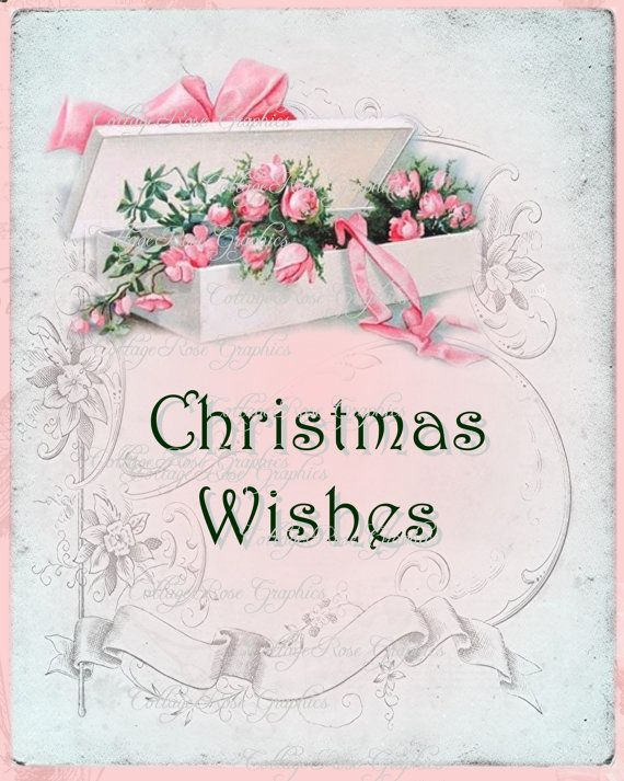 Pink Christmas Wishes Vintage Box of Pink roses collage Large digital download ECS buy 3 get one free
