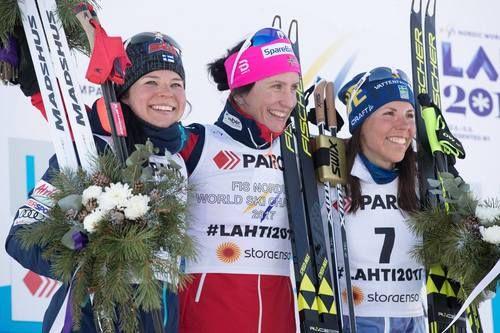 Congratulations for the top 3 of Ladies' Skiathlon! 1. Marit Björgen (NOR) 2. Krista Pärmäkoski (FIN) 3. Charlotte Kalla (SWE). Nordic World Ski Championships, Lahti, Finland, February 2017