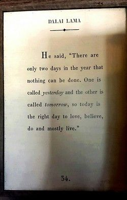 """He said, 'There are only two days in the year that nothing can be done. One is called yesterday and the other is called tomorrow, so today is the right day to love, believe, do, and mostly live.'"""
