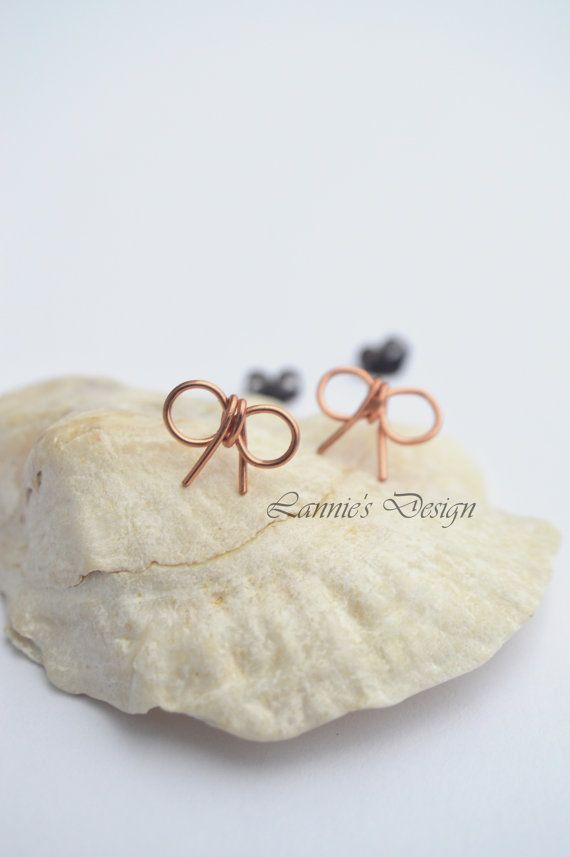 Copper Bow Stud Earrings by LanniesDesign