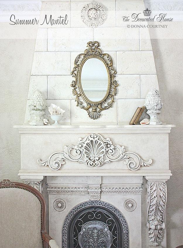 Fireplace.: Living Rooms, Antiques Books, Summer Mantels, Mantel Decor, Mantels Fireplaces, Houses Ideas, Houses Tutorials, Decor Houses, Girls Rooms