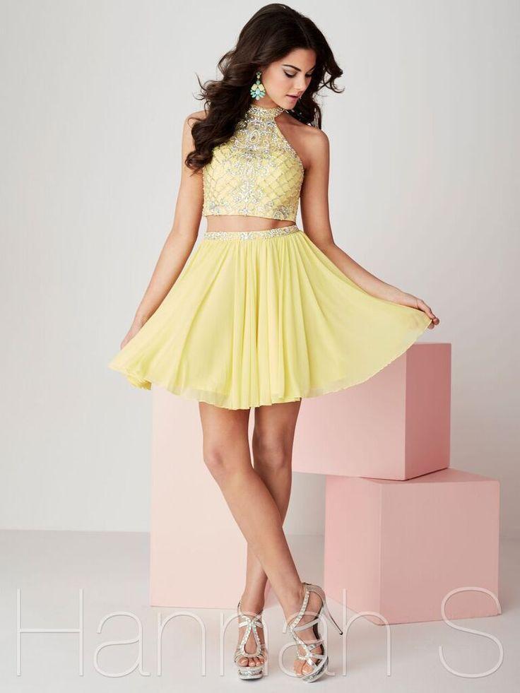 27087 Electric Yellow Short Homecoming Dress