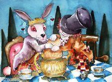 печати ACEO акварель народные Алиса в стране чудес кролика мыши Безумный Шляпник чайник