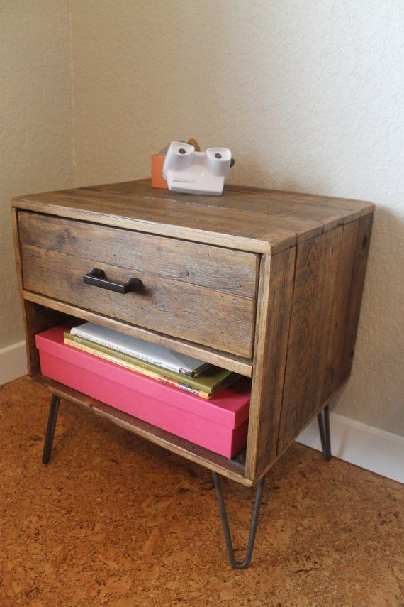 Reclaimed Wood Nightstand With Drawer Cubby The Holland Mid