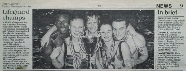 Fulham Pools Top Team 1988 - Lifesaving with (from left to right) Wayne Allen, Lisa Cuss, Pam Newman, Nikky Duffy and Michel Chauny