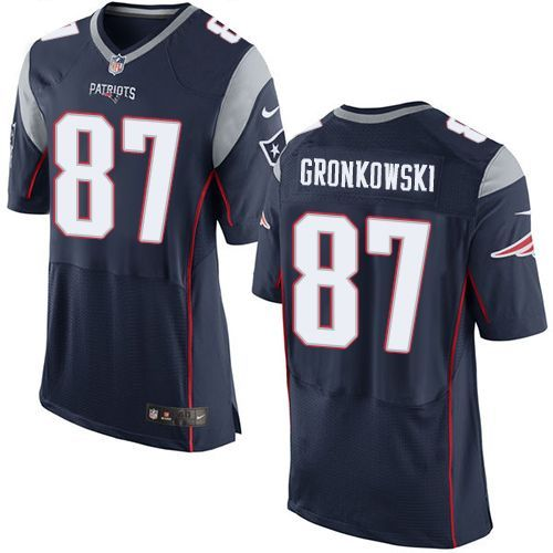 Nike New England Patriots #87 Rob Gronkowski Navy Blue Team Color Men's Stitched NFL New Elite Jersey