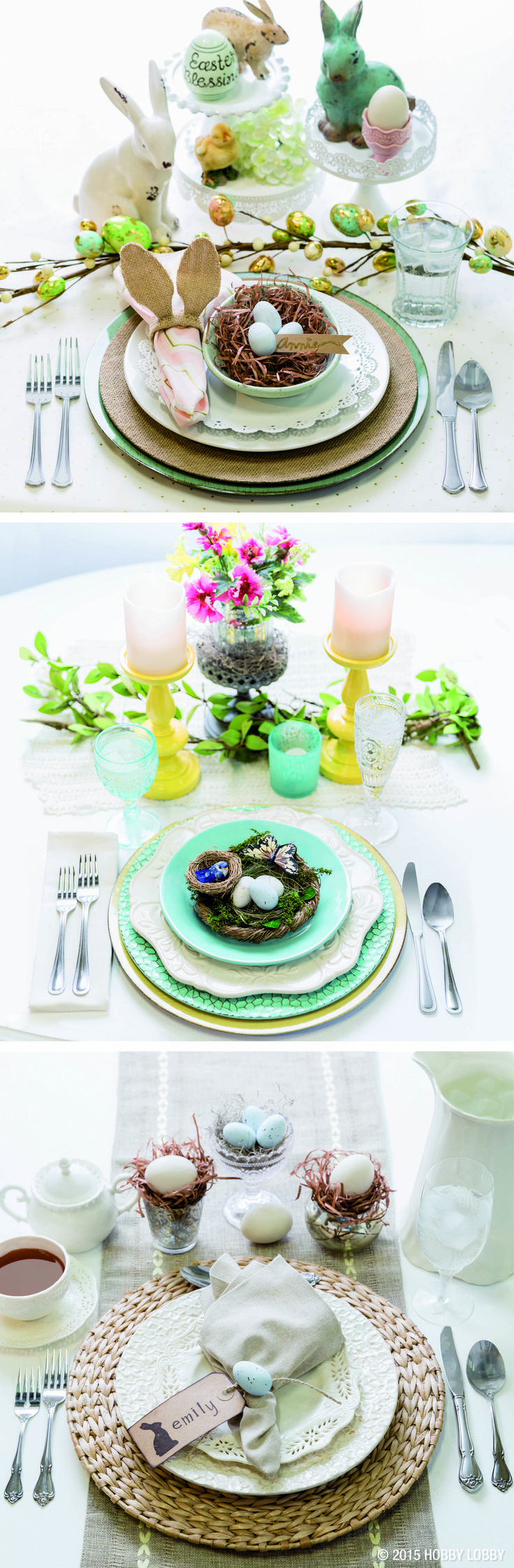 Need ideas for your Easter place settings? Here are three of our favorite springtime tablescapes.