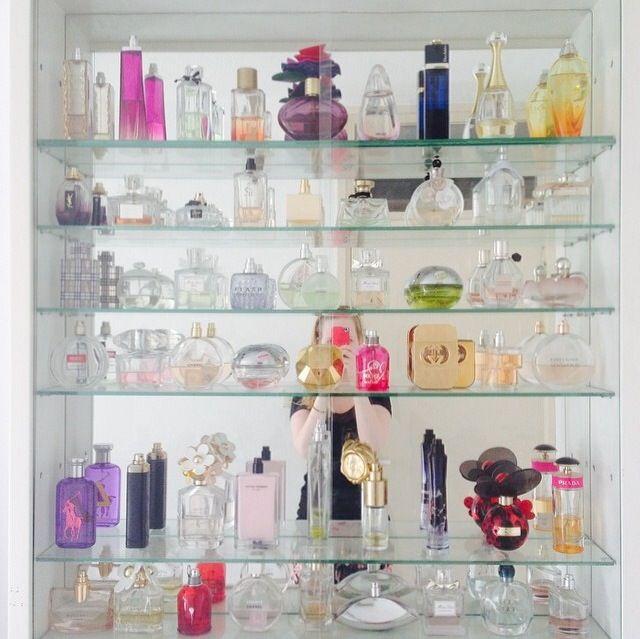 Perfume display cabinet design ideas pinterest for Glass bottle display ideas
