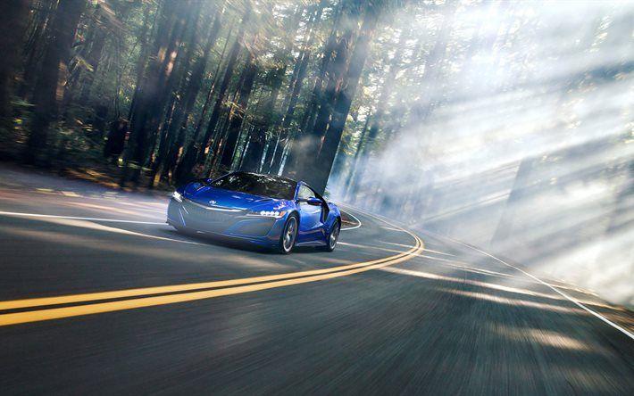 Acura NSX, 2017, Blue NSX, 4k, sports cars, road, speed, japanese cars, Acura