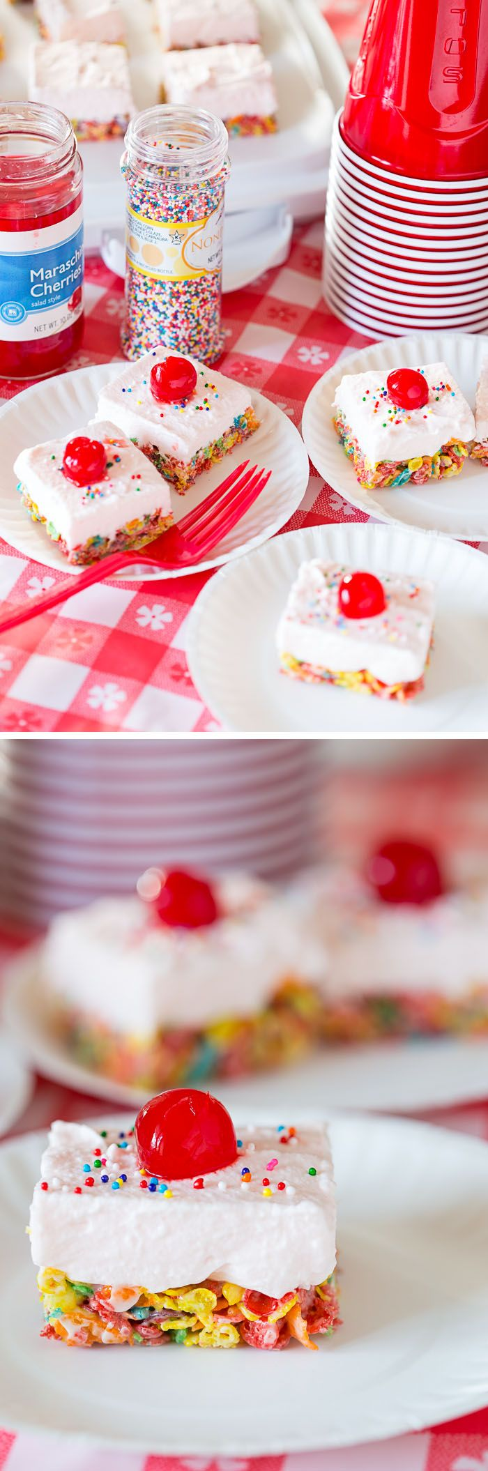 These Cherry Cream Fruity Pebbles Bars are fruity treats perfect for tailgating this football season! Whip up this recipe for a game day party. #sponsored