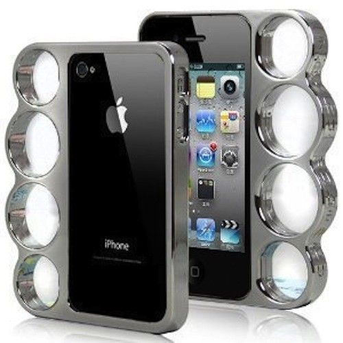 Best Selling iPhone 4 Case - Knuckle Duster available in the #InkedShop visit us online at www.inkedshop.com/inked-silver-electro-plated-knuckle-duster-iphone-case.html
