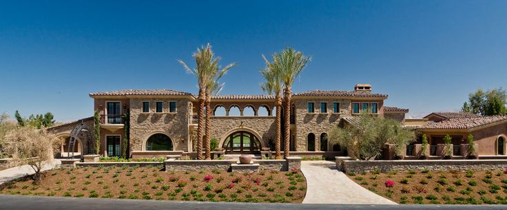 outdoor hallway, Diaphragm Arches, stone and stucco mix exterior, mediterranean
