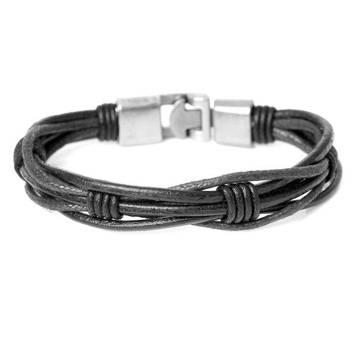 New Fashion Handmade Curly Black Leather Bracelets Trendy ...
