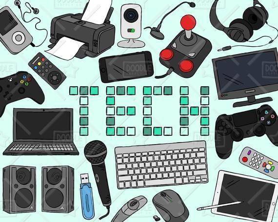 Technology Clipart Vector Pack, Tech Clipart, Electronics ...