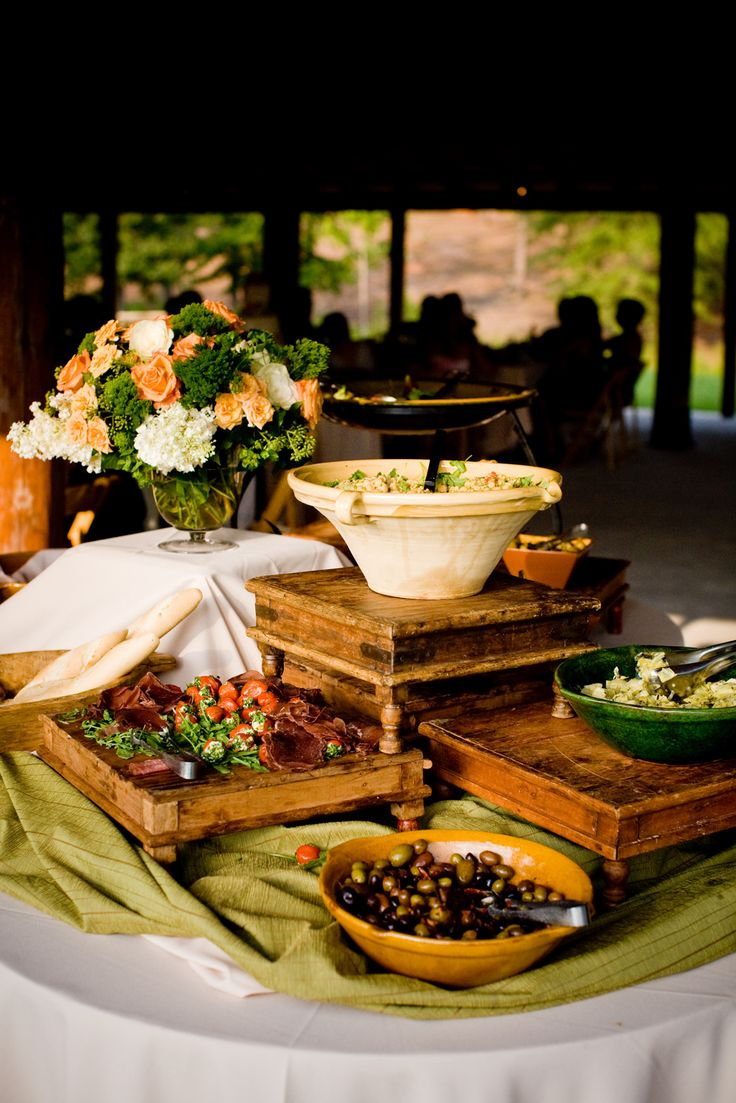 An antipasti station for an early September Gloriosa at Serenbe wedding reception in The Pavilion