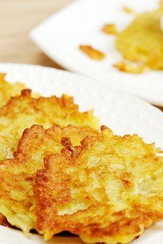 Baked Potato and Onion Latkes Recipe - A lighter, healthier version of traditional potato pancakes.