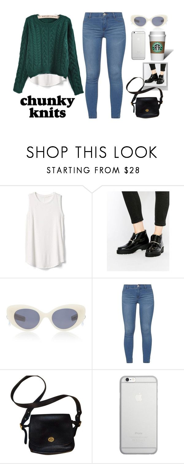 """""""Inspired by Emma Roberts"""" by stylecamel ❤ liked on Polyvore featuring Gap, ASOS, Polaroid, Pared, Dorothy Perkins, Coach, Native Union, jeans, ankleboots and chunkyknits"""
